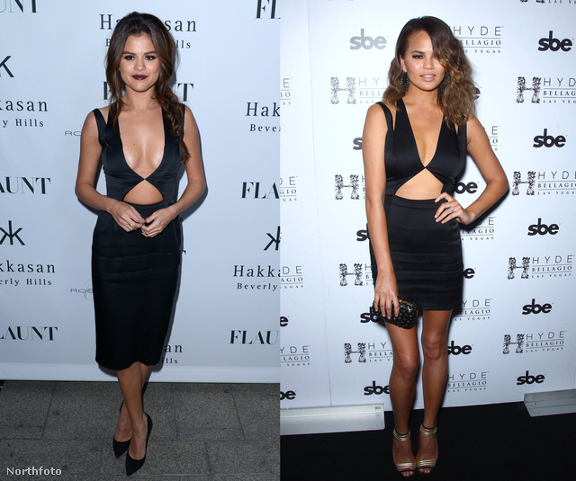 Itt éppen Selena Gomez és Chrissy Teigen villant
