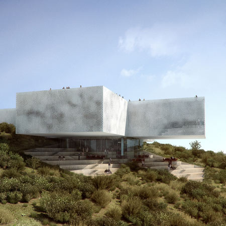 A Rojkind Arquitectos koppenhágai építészekkel karöltve tervezhette meg a meredek Atizapan domboldalában lévő 3500 négyzetméteres területen elterülő épületet.