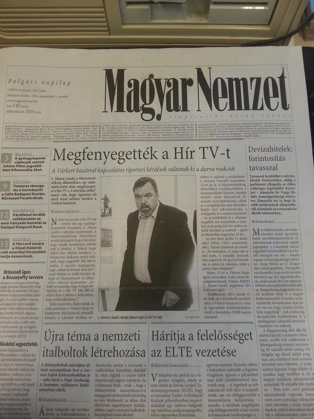 L. Simon megfenyegette a H�r TV-t, a Magyar Nemzet meg�rta ...