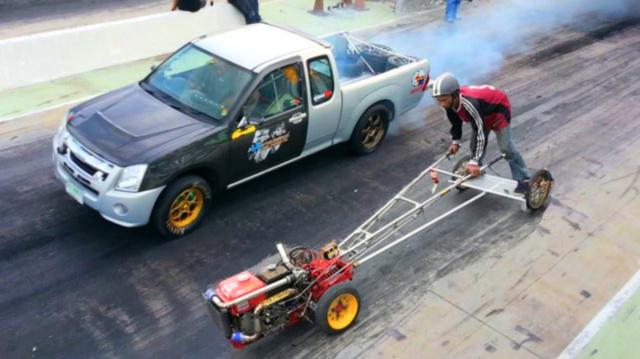 rotary cultivator drag race kubota