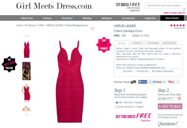 A Beyoncé által viselt Herve Leger ruhát napi 99 fontért, azaz 38 ezer forintért lehet kibérelni.