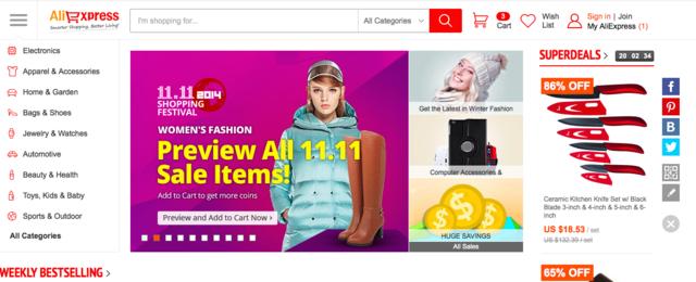 Már a főoldalon is a november 11-ére készíti vásárlóit az aliexpress.com.