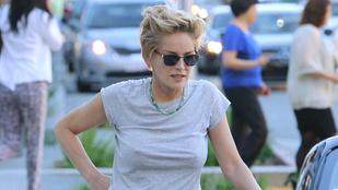 Csak a szokásos: Sharon Stone-on nincs melltartó