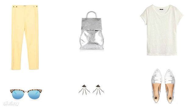 Nadrág - 9995 Ft (Zara), hátizsák - 55 font (Topshop), póló - 3990 Ft (H&M) , napszemüveg - 6995 Ft (Mango), fülbevaló -3,99 font (New Look), cipő - 38,35 euró (River Island/Asos)