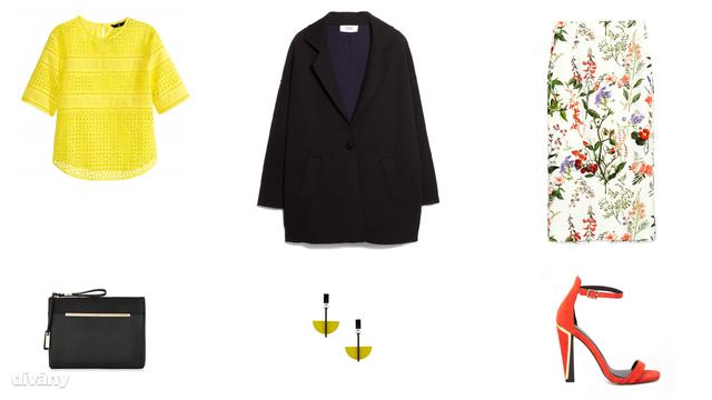 Blúz - 8990 Ft (H&M), kabát - 23995 Ft (Mango), szoknya - 11995 Ft (Zara), táska - 12 font (New Look), fülbevaló - 10 font (Topshop), cipő - 61,64 euró (Asos)