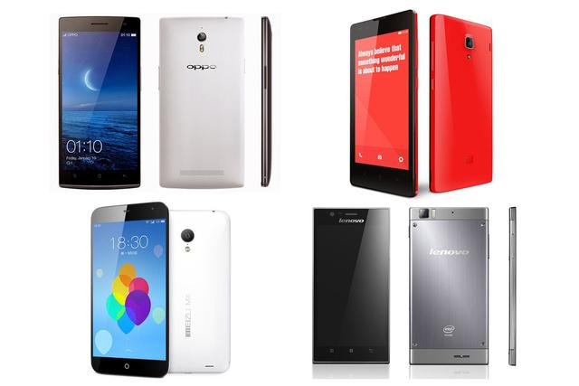 Bal fentről sorban a készülékek: Oppo Find7a,Xiaomi Redmi S,Meizu MX3,Lenovo K900