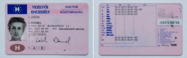 A jogosítvány első oldalán a kibocsátás és magának kártyának az érvényessége. A hátoldalon az egyes kategóriák megszerzésének időpontja a 10. oszlopban, míg a 11. oszlopban az orvosi érvényesség lejárati dátuma szerepel. Ez eltérhet az első oldalon szereplő lejárati dátumtól, mert 50-től 60 éves korig már csak 5 évre hosszabbítható.