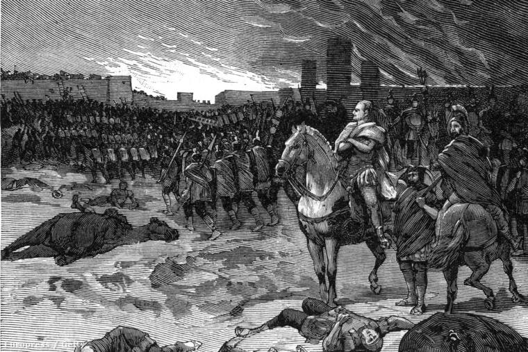 Egy 1884-es illusztráció a Rómát 455-ben feldúló vandálokról.