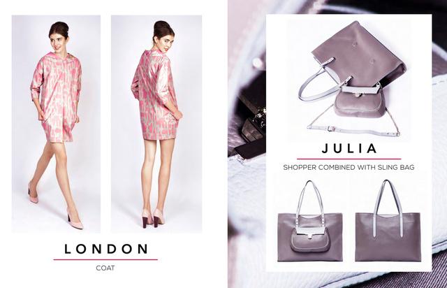 Az ENIHORN 2015-ös tavaszi-nyári kollekciójában egyébként két különböző, de mégis harmóniában lévő világ fonódik össze. A képen a JULIA táska látható, ami napközben shopper, este pedig az első zsebe mini táskává alakítható.