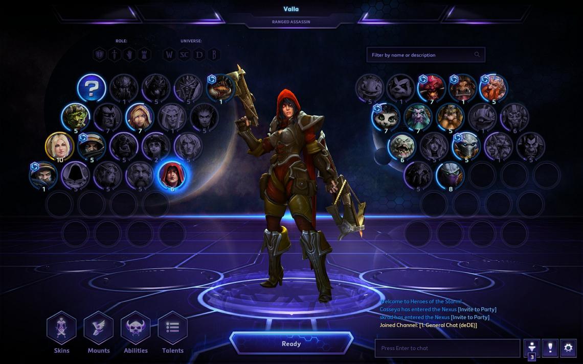 Ez a játék karakterképernyője, ahol a megszerzett és megvehető hősök között válogathatunk a meccsek előtt.