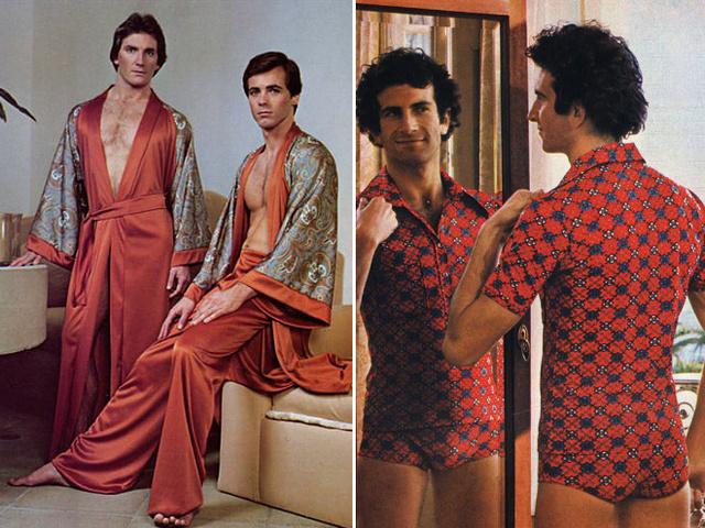 A nőies szabású, lágy esésű szatén hálóruhák is divatban voltak a férfiak körében.