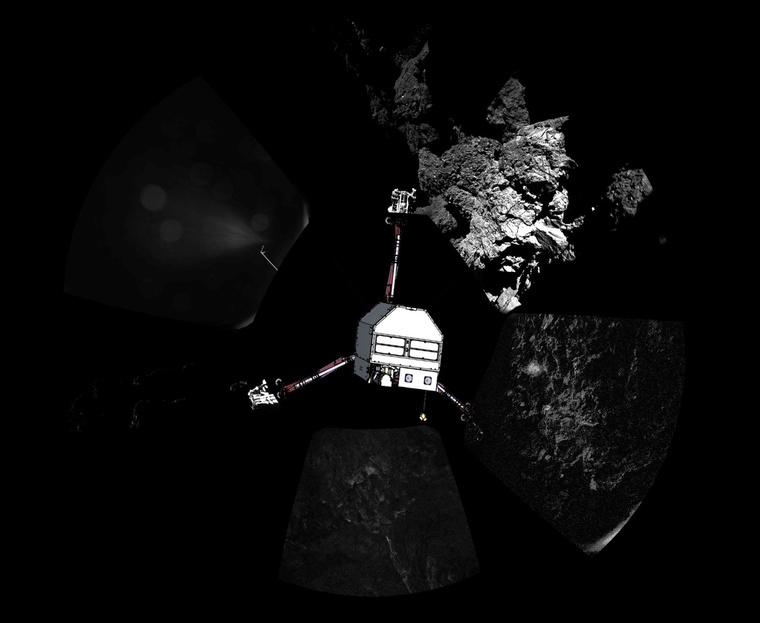 A Philae 2014 novemberében, a landolás után, ahogy a földi irányítás az adatok alapján képzelte