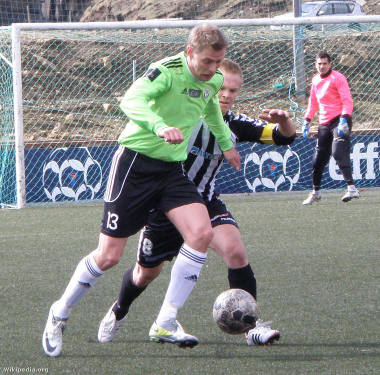 Bajnoki mérkőzésen a B36 Tórshavn a TB Tvøroyri ellen 2012-ben