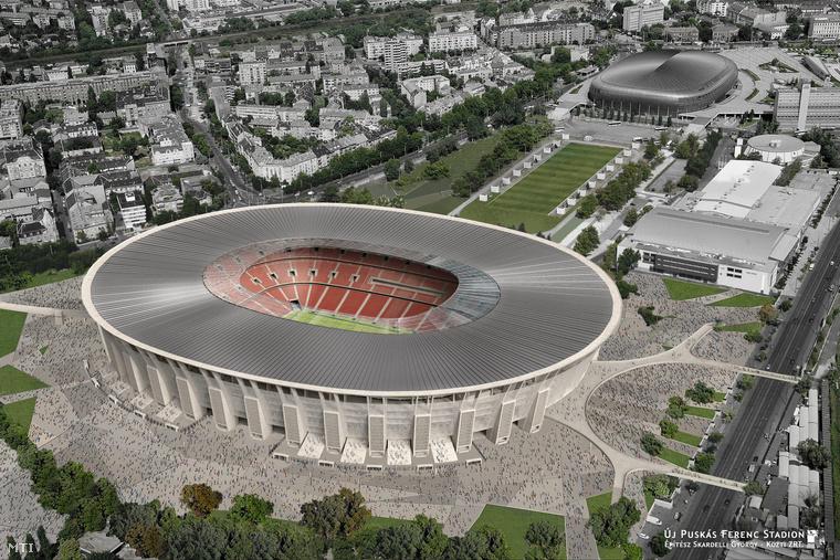 A Nemzeti Fejlesztési Minisztérium által közreadott a Közti Zrt. Középülettervező Zártkörűen Működő Részvénytársaság látványterve az új Puskás Ferenc Stadionról.