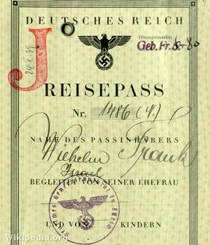 Reisepass Wilhelm Frank mit J-Stempel