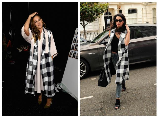 Amal Clooney pár napja hasonló ujjatlan kabátban sétált Londonban, mint amiben Sarah Jessica Parker is még februárban New Yorkban.