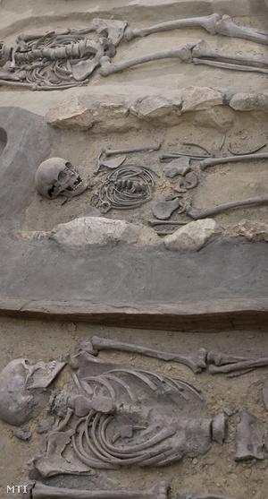 2010. június 27. Csontvázak fekszenek egy Árpád-kori sírban a Kis-Balaton Ház kiállításán a Zala megyei Zalaváron.