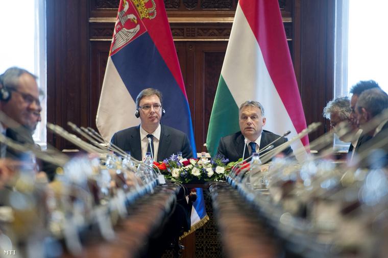 Aleksandar Vučić szerb kormányfő és Orbán Viktor miniszterelnök a magyar-szerb kormányülésen.