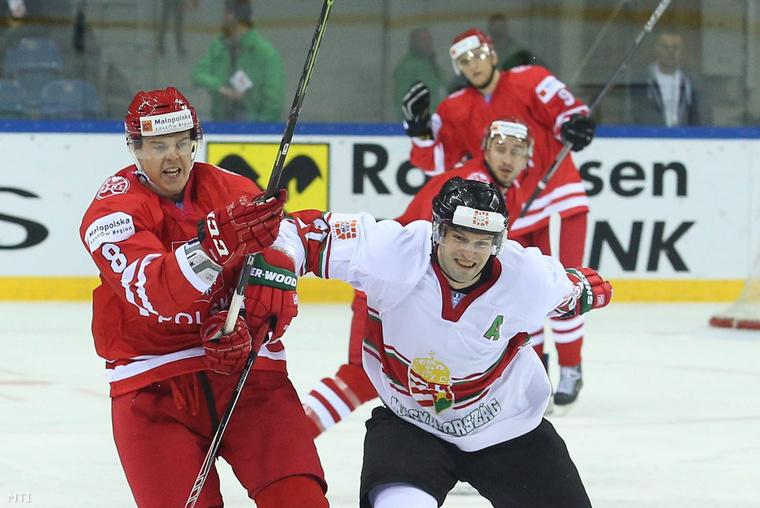 Vas János és a lengyel Aron Chmielewski a krakkói jégkorong divízió I/A világbajnokság zárómérkőzésén 2015. április 25-én.