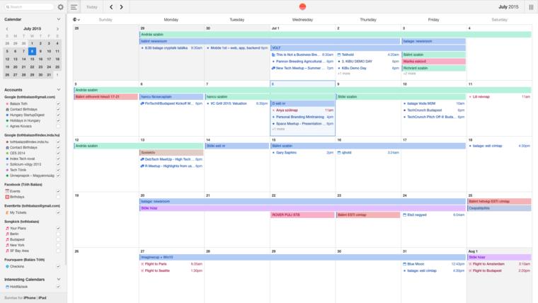 Valamivel több információ látszik a Sunrise letisztult naptárában. Pedig ugyanazok az adatok vannak benne, mint a Windowséban.