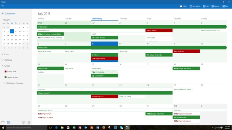 Ez a színkavalkád a Windows 10 naptára
