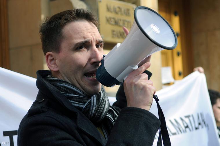 Barabás Richárd egy 2014 márciusában tartott demonstráción