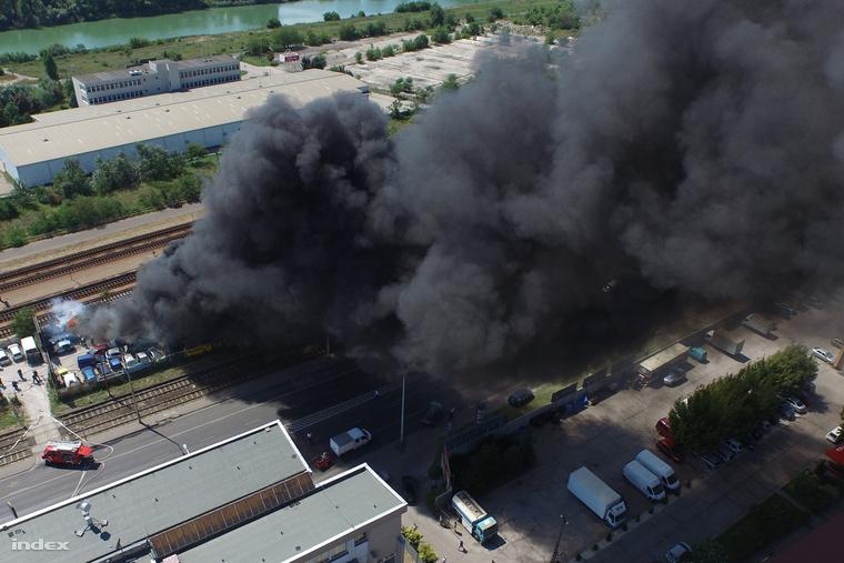 Egy Kén utcai nagykereskedés dolgozói drónnal nézték meg, mi ég a környéken.