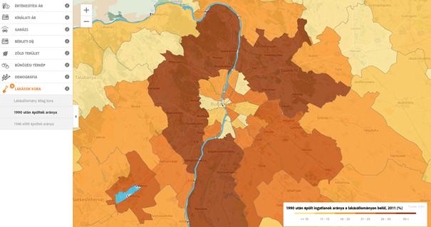 Az 1990 után épült lakóingatlanok aránya.Itt is a képre kattintva érhető el az interaktív térkép