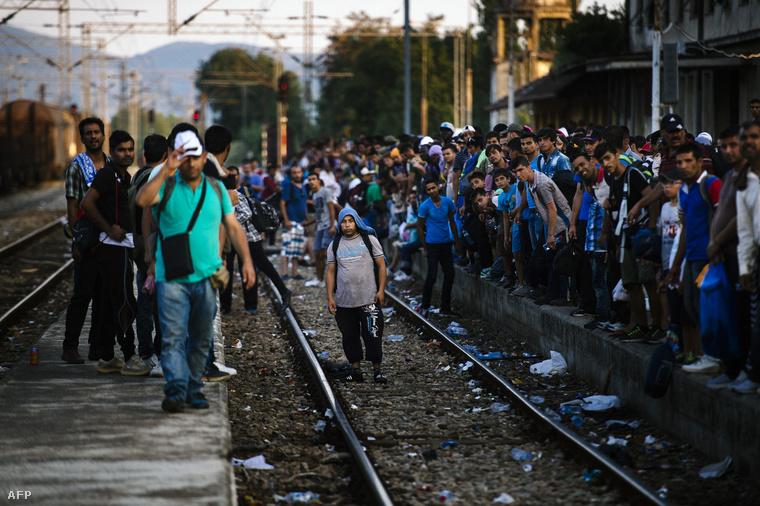 Menekültek várakoznak egy vasútállomáson, Szerbiában