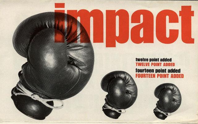 A betűtípus eredeti brosúrája 1965-ből