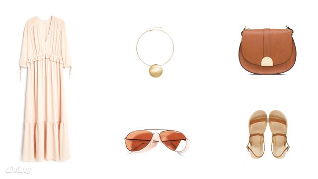 Ruha - 29990 FT (Mango), nyaklánc -2990 Ft (H&M), táska - 9995 Ft (Zara), napszemüveg - 3995 Ft (Stradivarius), szandál - 16 font (Asos)