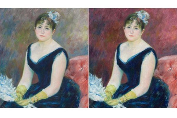 Renoir Madame Léon Clapisson - jobbra a számítógépes rekonstrukció