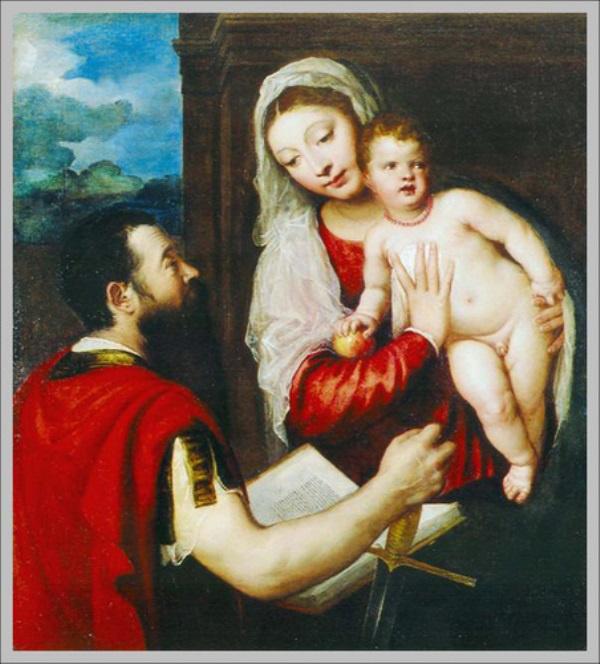 Tiziano Mária gyermekével és Szent Pállal