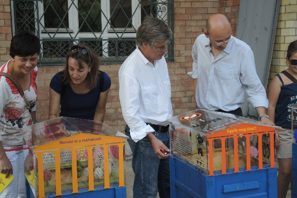 Érdeklődők az Új Múzeum Méheknek három kaptárjainál