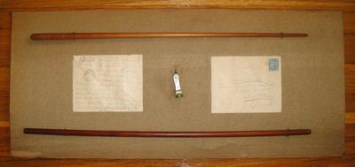 Wagner-licit, Boston, Schubertiade Music két karmesteri pálca, gyöngyház szivarvágó, az 1883-ból származó, Richard Wagnernek címzett levél borítékai