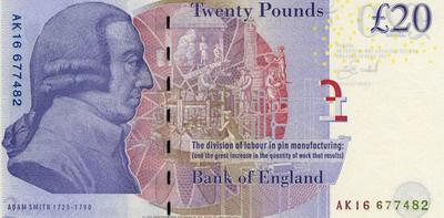 Adam Smith az új húszfontoson