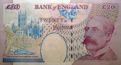 Edward Elgar a régi húszfontoson
