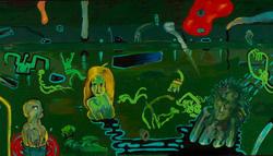 Kovásznai György: Alakok zöld háttérben (1982)