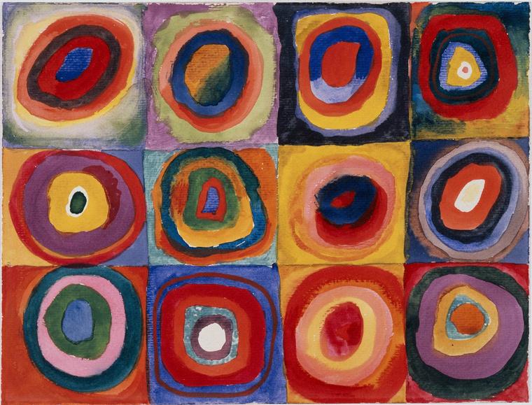 Kék Lovas - Vaszilij Kandinszkij: Színvázlatok, négyzetek koncentrikus körökkel, 1913