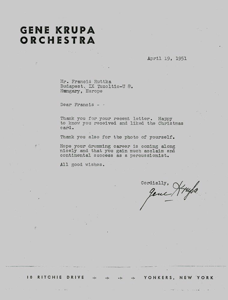 Gene Krupa levele Ruttka Ferenchez