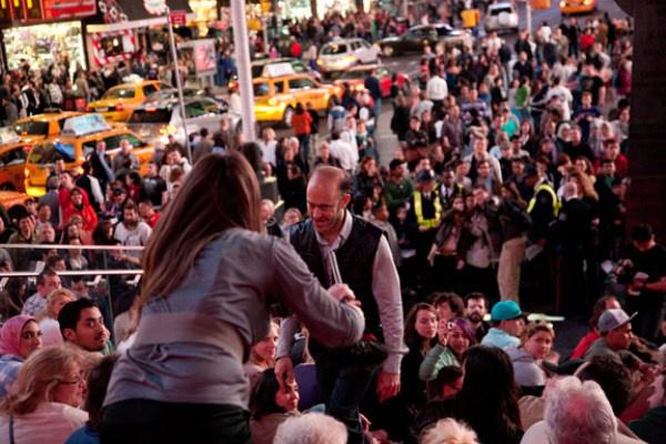 Liz Magic Laser: Flight Performance, Times Square, New York, 2011