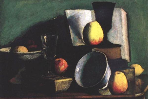 Czigány Dezső: Csendélet almákkal és tállal (Nyolcak)