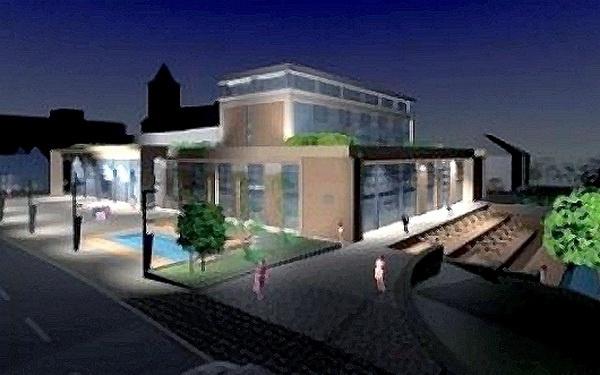 Az új békéscsabai kulturális központ, a Csabagyöngye terveinek egyike