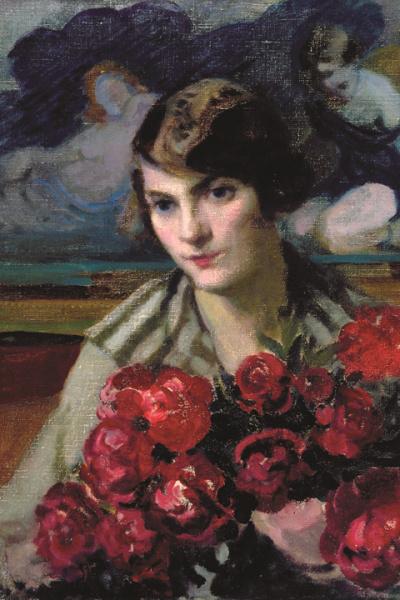Thorma János: Női portré bazsarózsákkal (részlet)