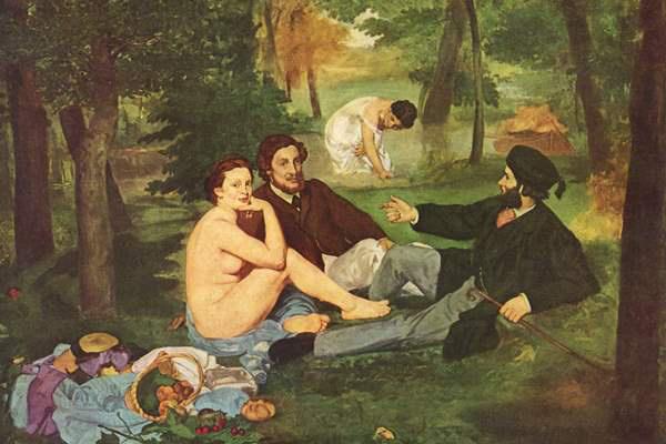 Manet: Reggeli a szabadban (1863) - részlet