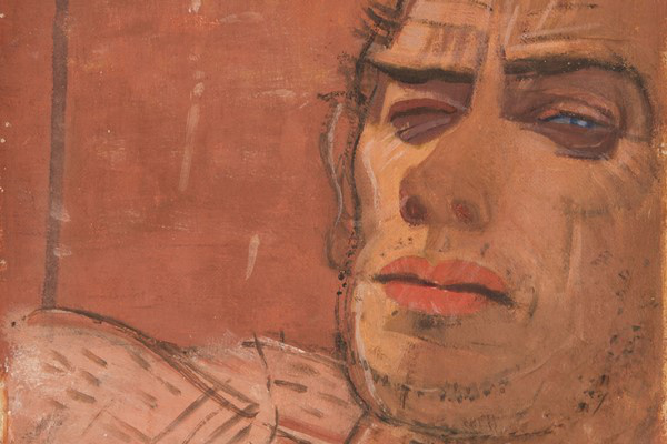 Derkovits Gyula: Önarckép - Hunyorító (1930) - részlet