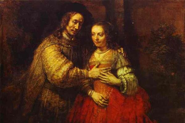 Rembrandt: A zsidó menyasszony (részlet)