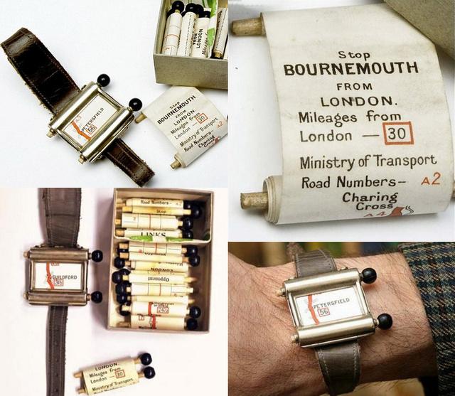 """A Plus Fours Routefinder névre keresztelt """"navigáció"""" leginkább egy órára emlékeztető kézikönyv volt, melyben a papírból készült térképeket két, fából készült görgető segítségével kézzel lehetett lefele és felfele mozgatni."""