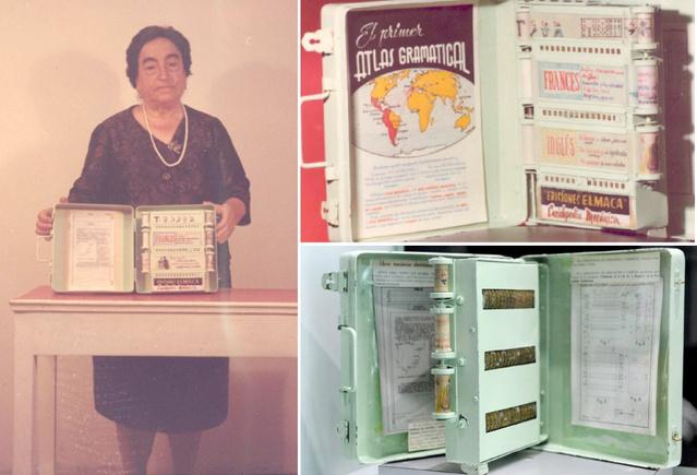 Az e-könyvek korai formáján dolgozott egy 54 éves tanárnő, Angela Ruiz Robles is Spanyolországban. Talán ez az 1949-ben bemutatott modell az egyik legkorábbi primitív változata a ma ismert e-könyveknek.