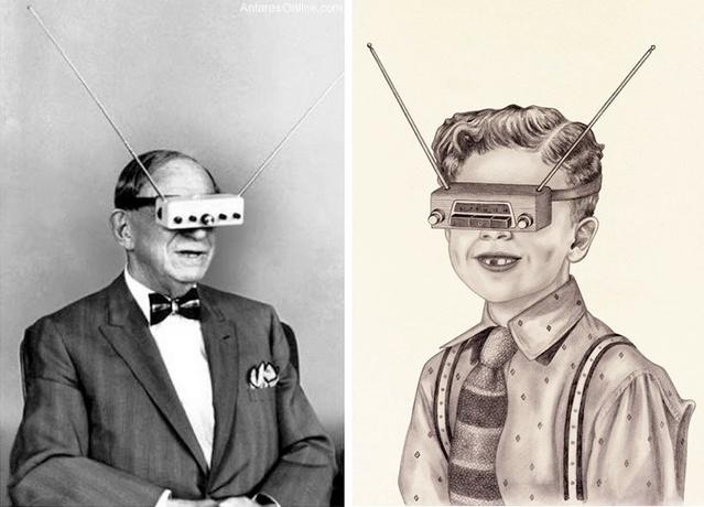 A Google szemüveghez hasonló, teljesen hasznavehetetlen televíziós szemüveget 1963-ban mutatták be, de átütő sikereket nem értek el vele a vásárlók körében.